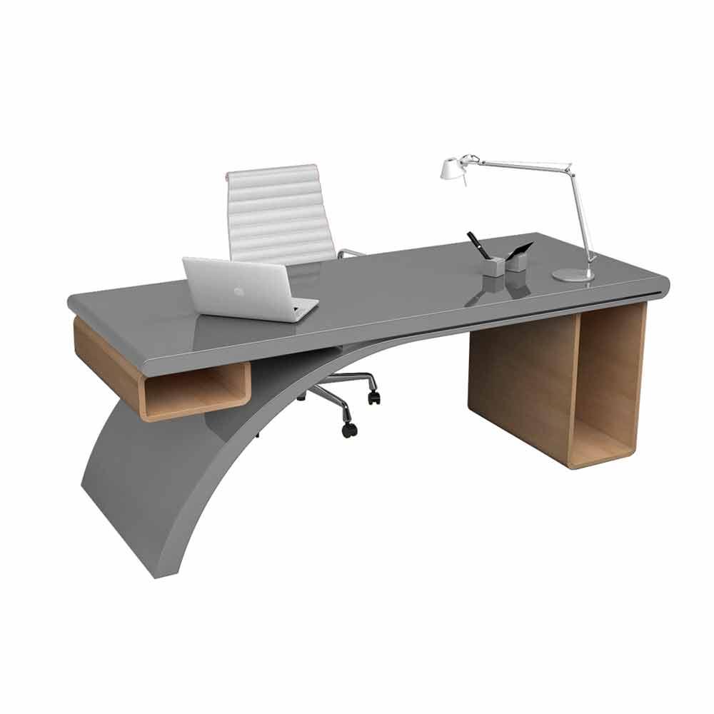 Scrivania da ufficio in legno e adamantx® bridge, made in italy