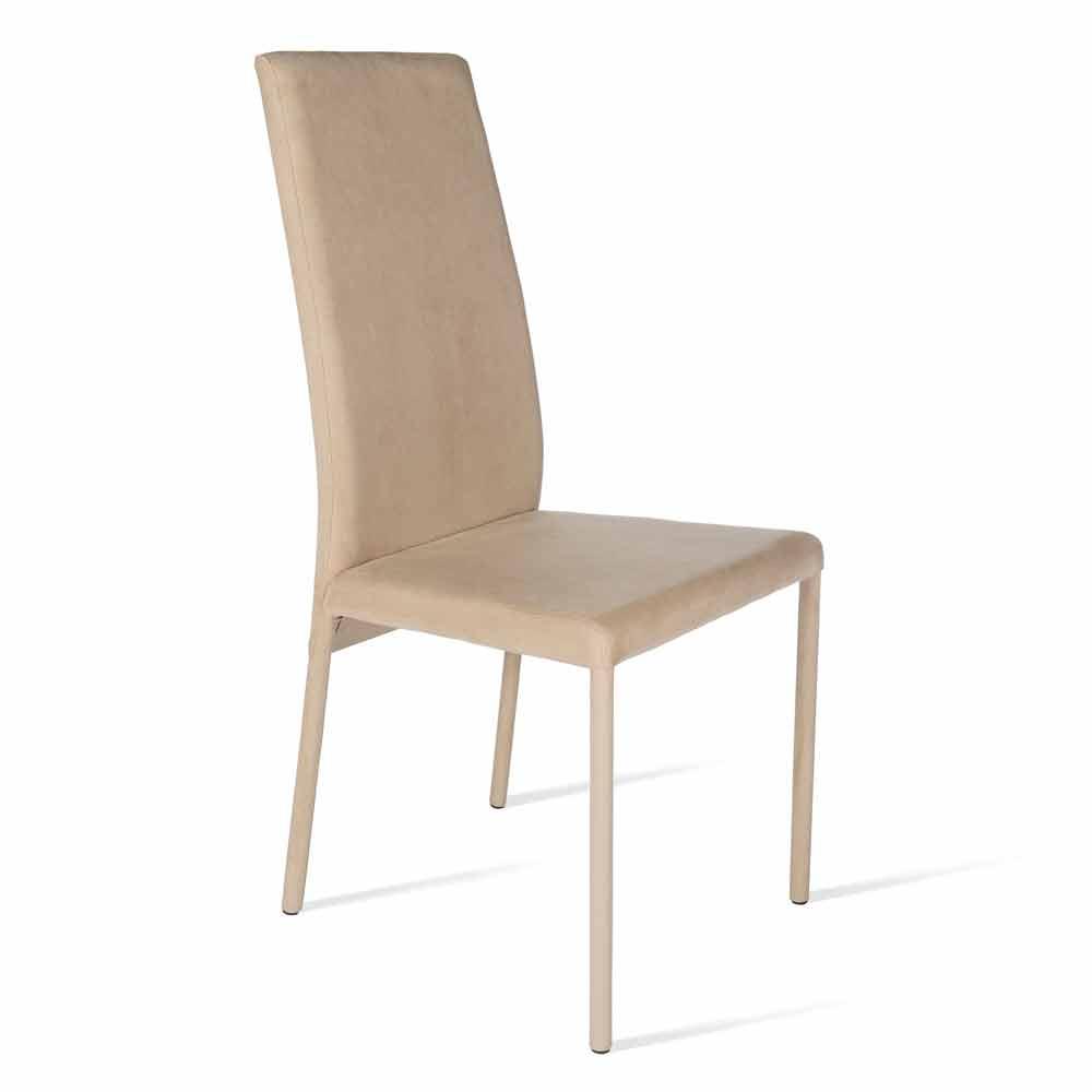 Sedia moderna con schienale alto rivestita Becca, H102cm made in Italy