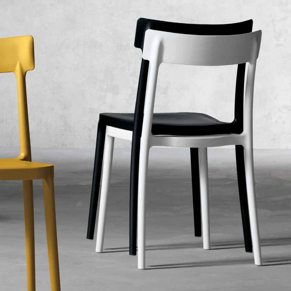 Sedie In Polipropilene Colorate.Sedia Moderna Da Interno Esterno In Polipropilene Fatta In Italia Peia