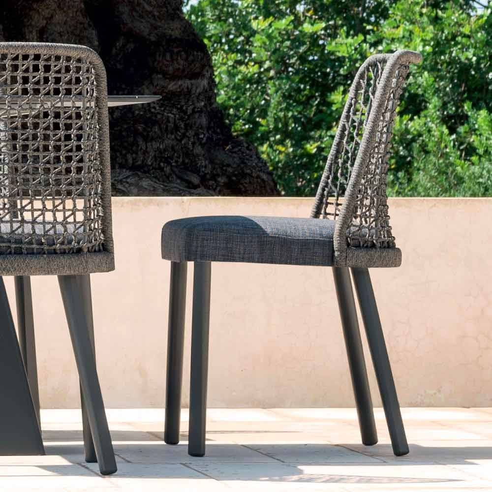 Sedia da esterno Varaschin Emma di design in tessuto e alluminio