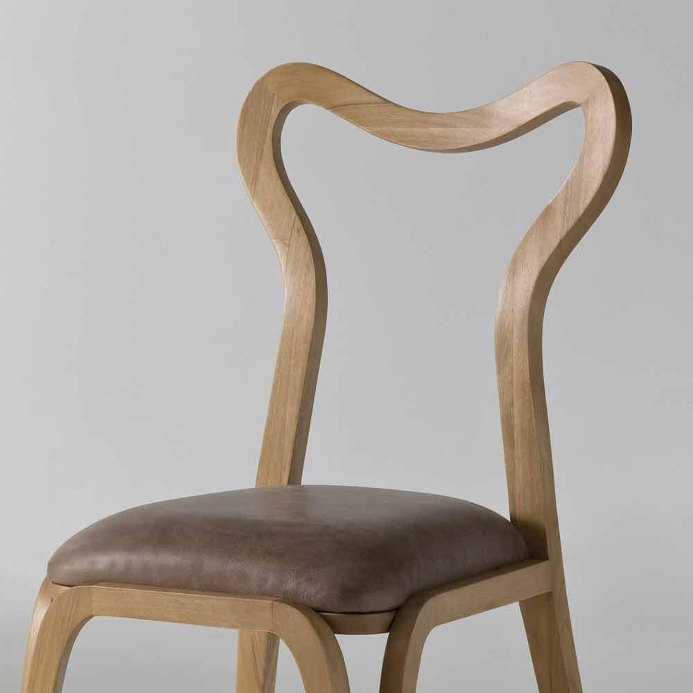 Sedia da pranzo design moderno in legno e pelle for Sedia design moderno