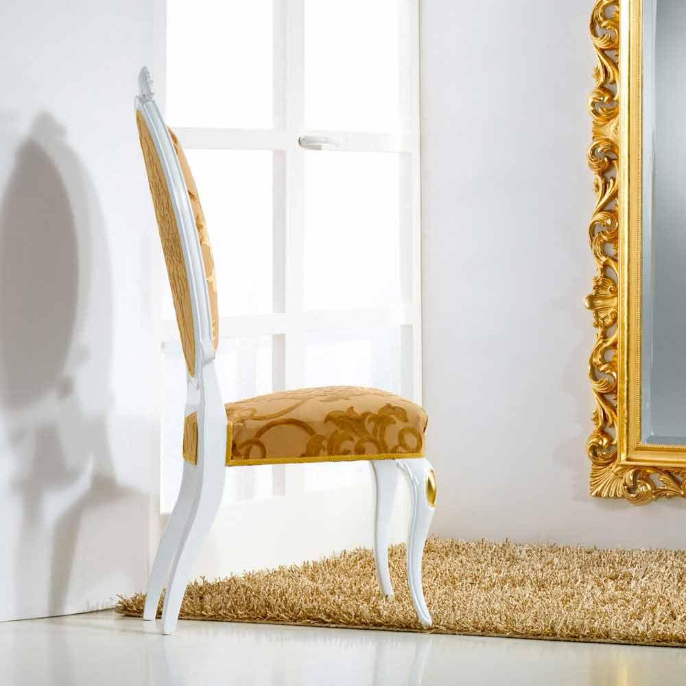 Sedia dal design classico in legno con decori foglia oro - Sedia legno design ...