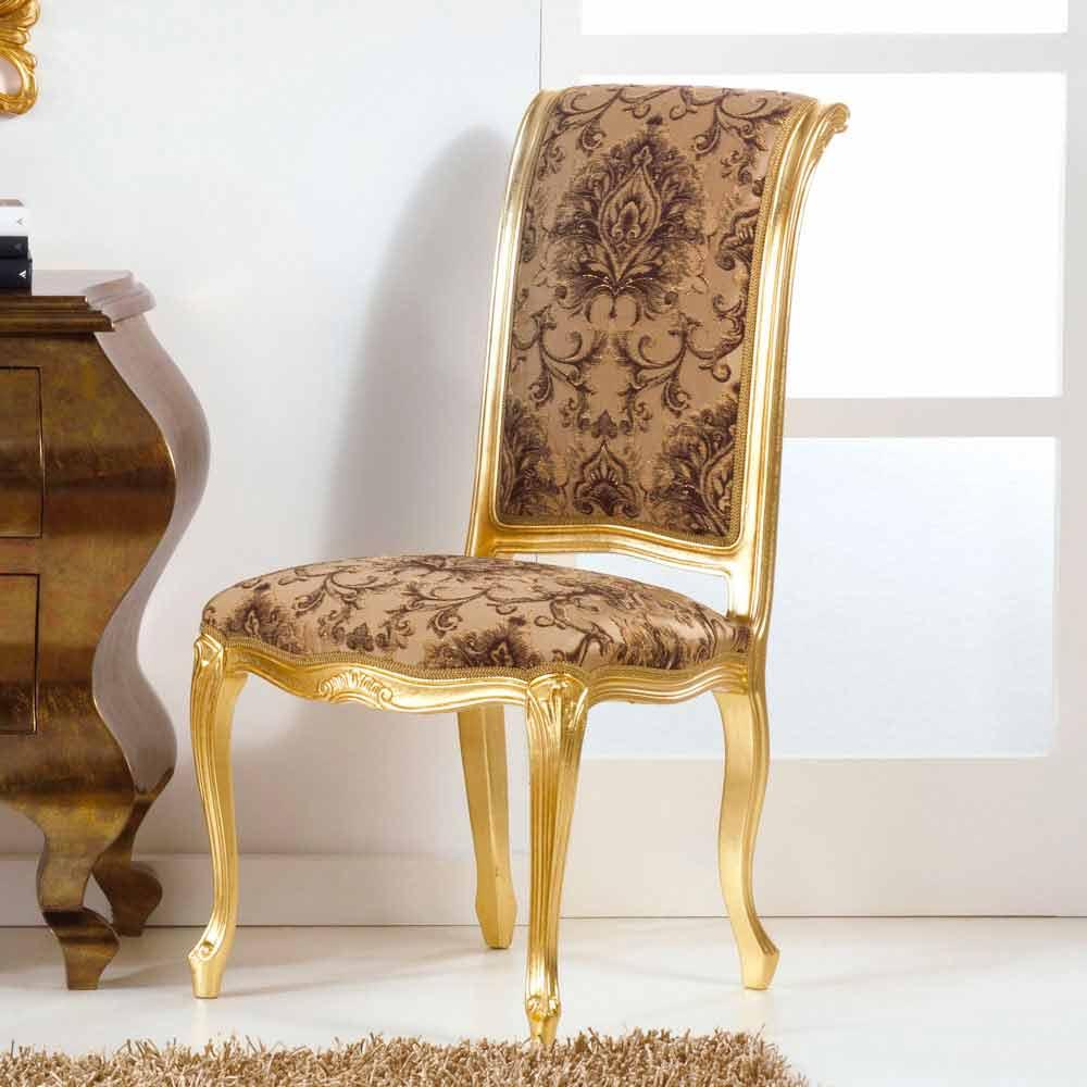 Sedia in legno dallo stile classico con gambe foglia oro for Sedie modelli