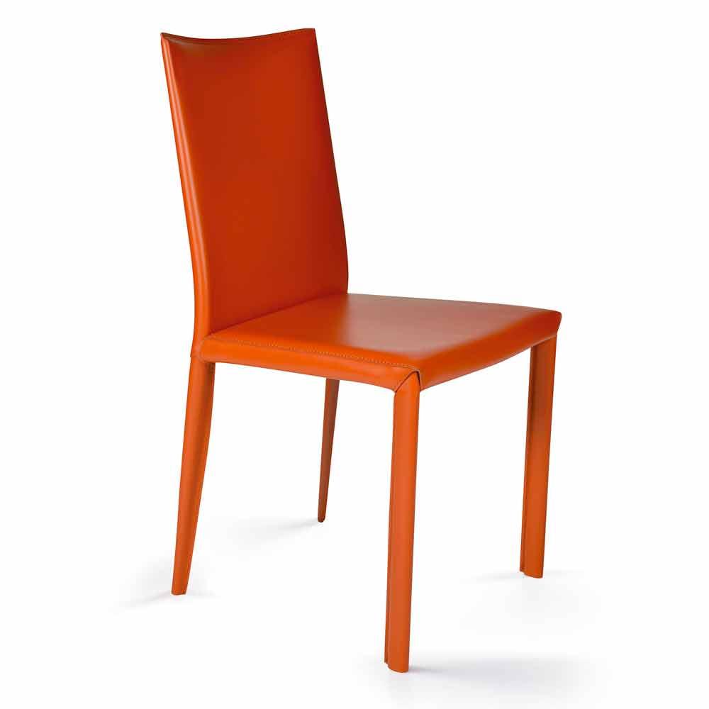 Sedia per sala da pranzo in cuoio design moderno made in for Sedie per sala