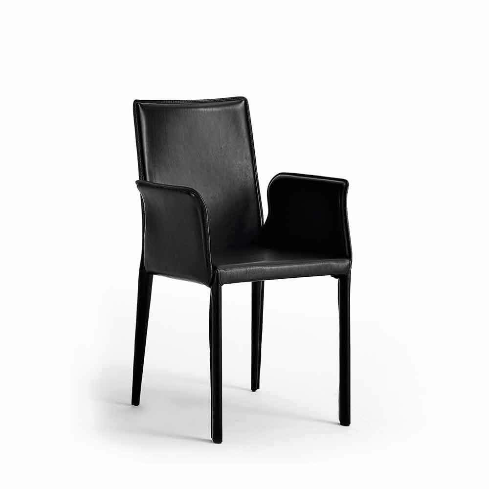 set 2 sedie in pelle moderne con struttura in acciaio jolie
