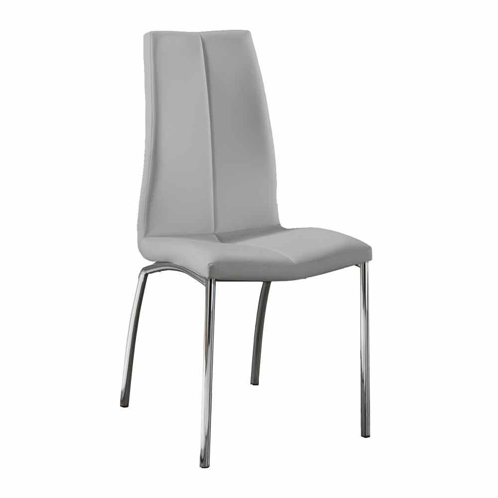Set 4 sedie design moderno in ecopelle e metallo cromato alba for Sedie di metallo
