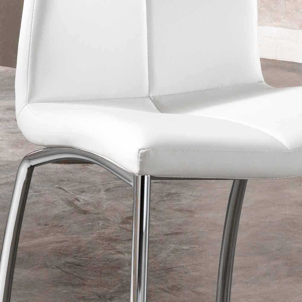 Set 4 sedie design moderno in ecopelle e metallo cromato alba for Sedie design grigie
