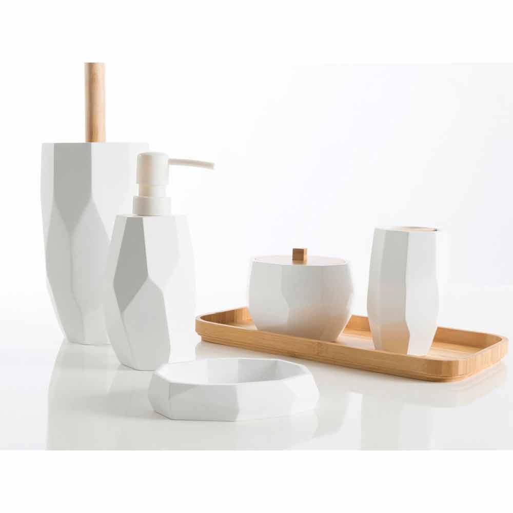Set accessori bagno moderni da appoggio in legno e resina Rivalba