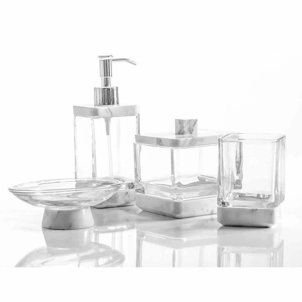 Set accessori da bagno di design in vetro e marmo calacatta carona - Accessori bagno moderno di design ...