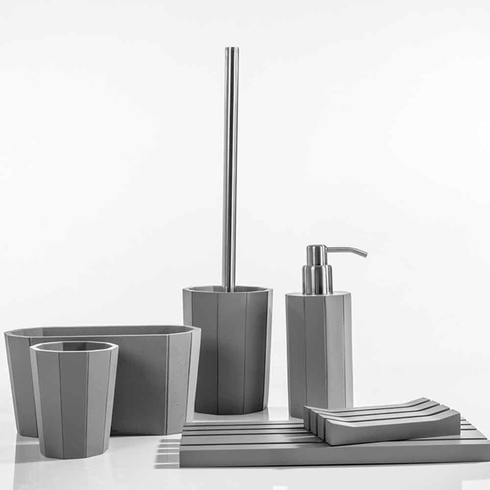 Set accessori da bagno da appoggio in resina bianca grigio rivello - Set accessori bagno da appoggio ...