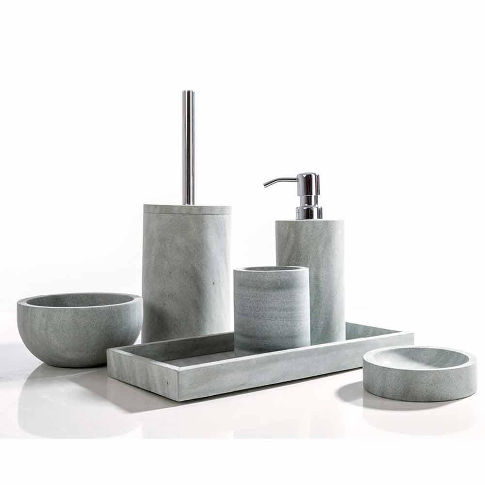 set accessori da bagno di design in pietra grigia montale