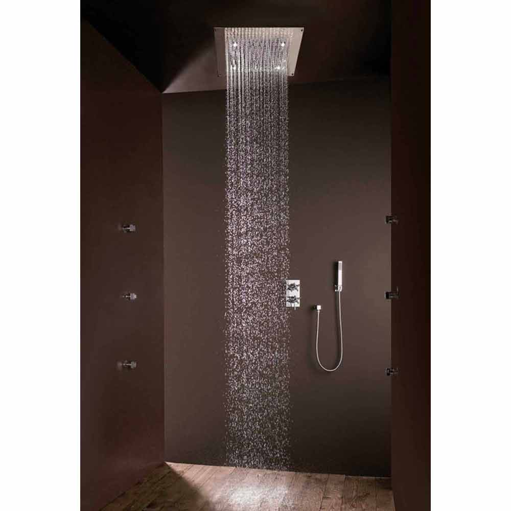 Bossini soffione doccia con luci led quadrato a un getto - Illuminazione doccia con led ...