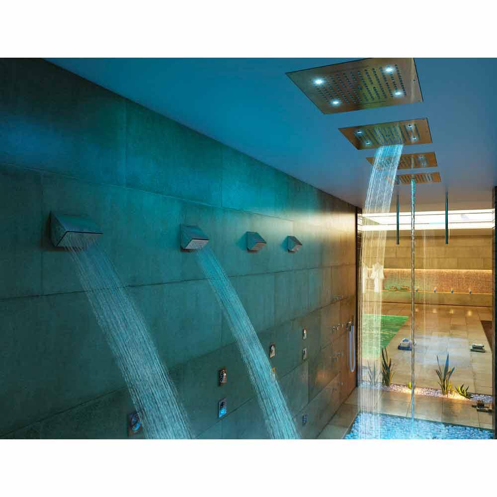 bossini soffione doccia da soffitto a due getti con cromoterapia dream - Illuminazione Doccia Con Led