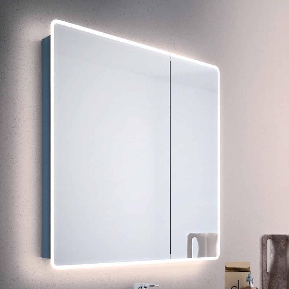 Specchio contenitore moderno a 2 ante da bagno con luci for Specchio bagno led integrato