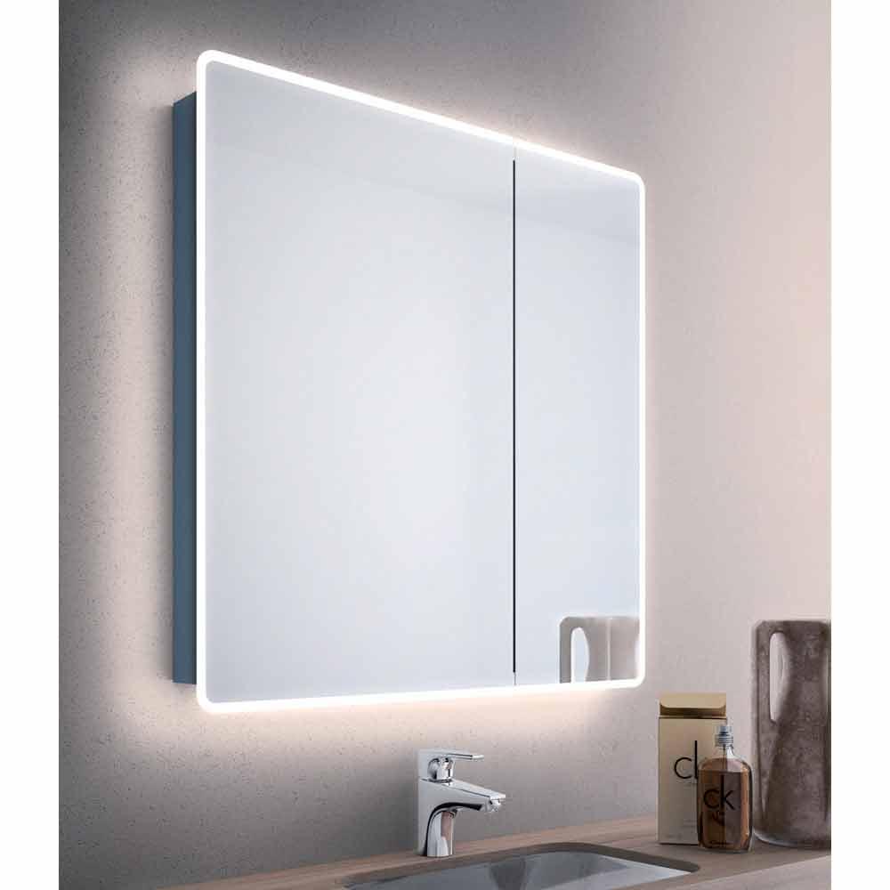 Specchio contenitore moderno a 2 ante da bagno con luci for Specchio contenitore bagno