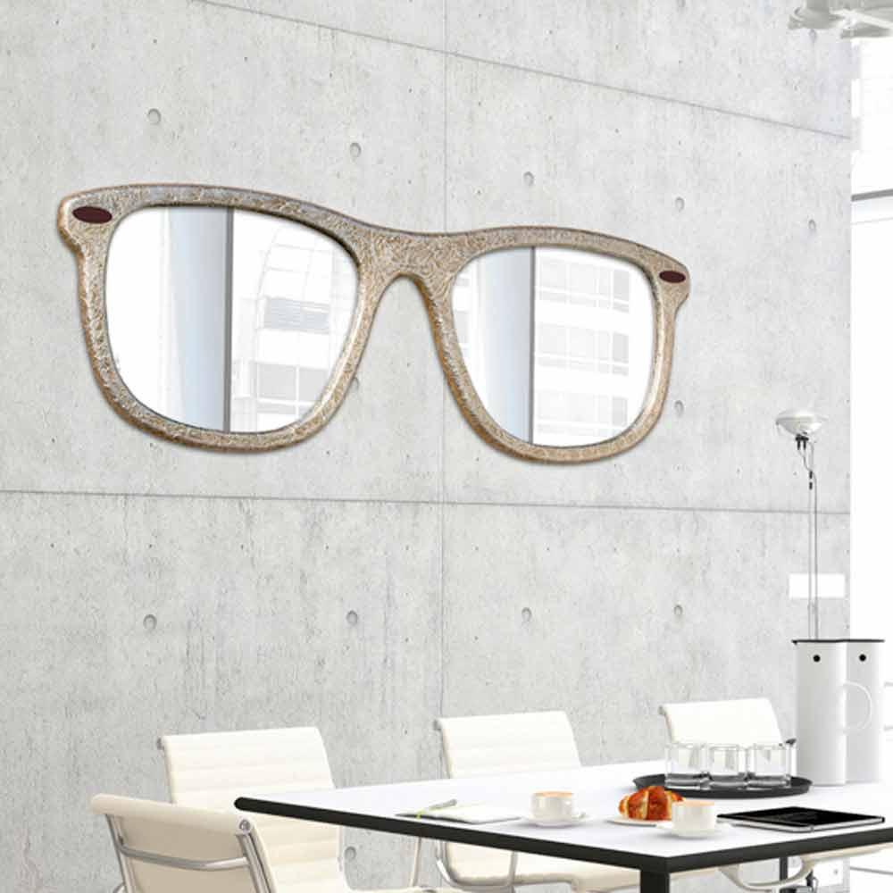 Specchio d 39 arredo da parete a forma di occhiale decorato a for Specchi arredo