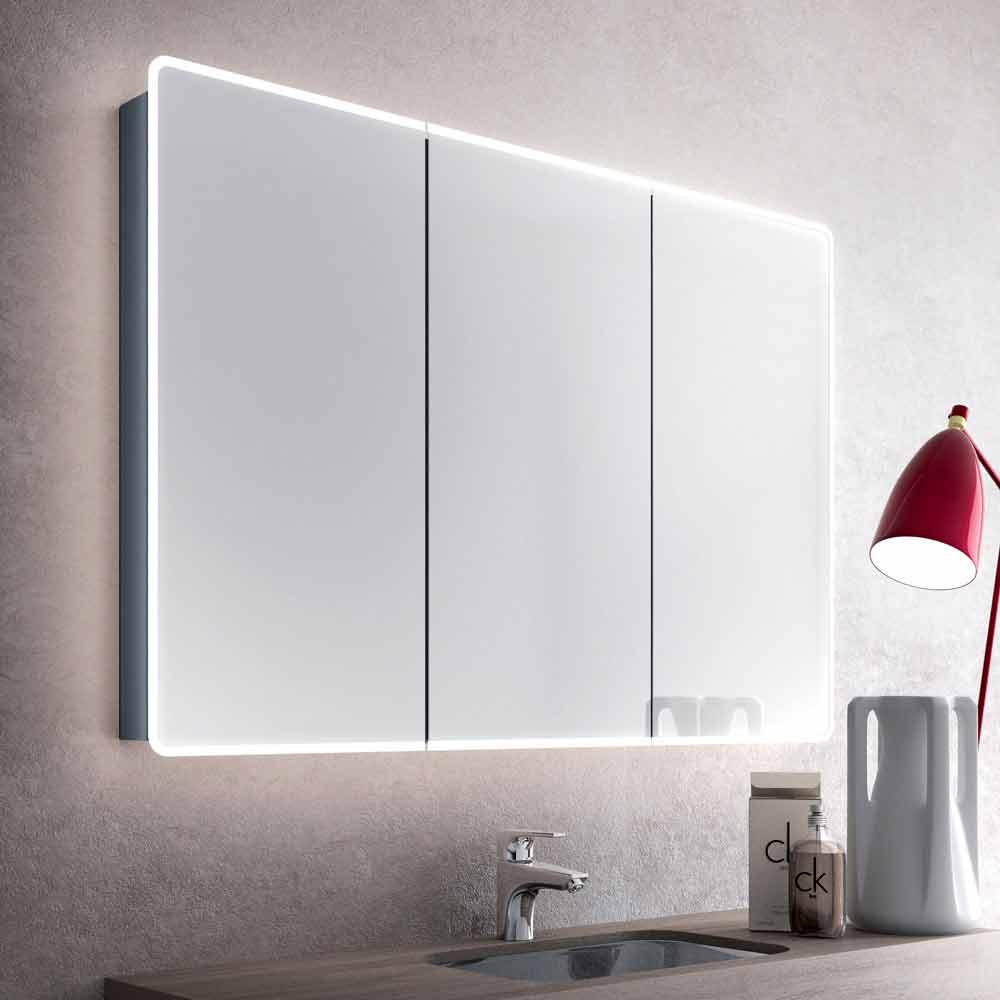 specchio da bagno a parete con led e 3 ante design