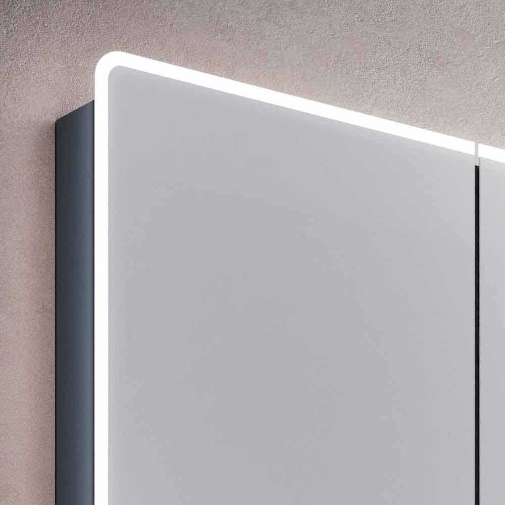 Specchio da bagno a parete con led e 3 ante design moderno valter - Specchio design da parete ...