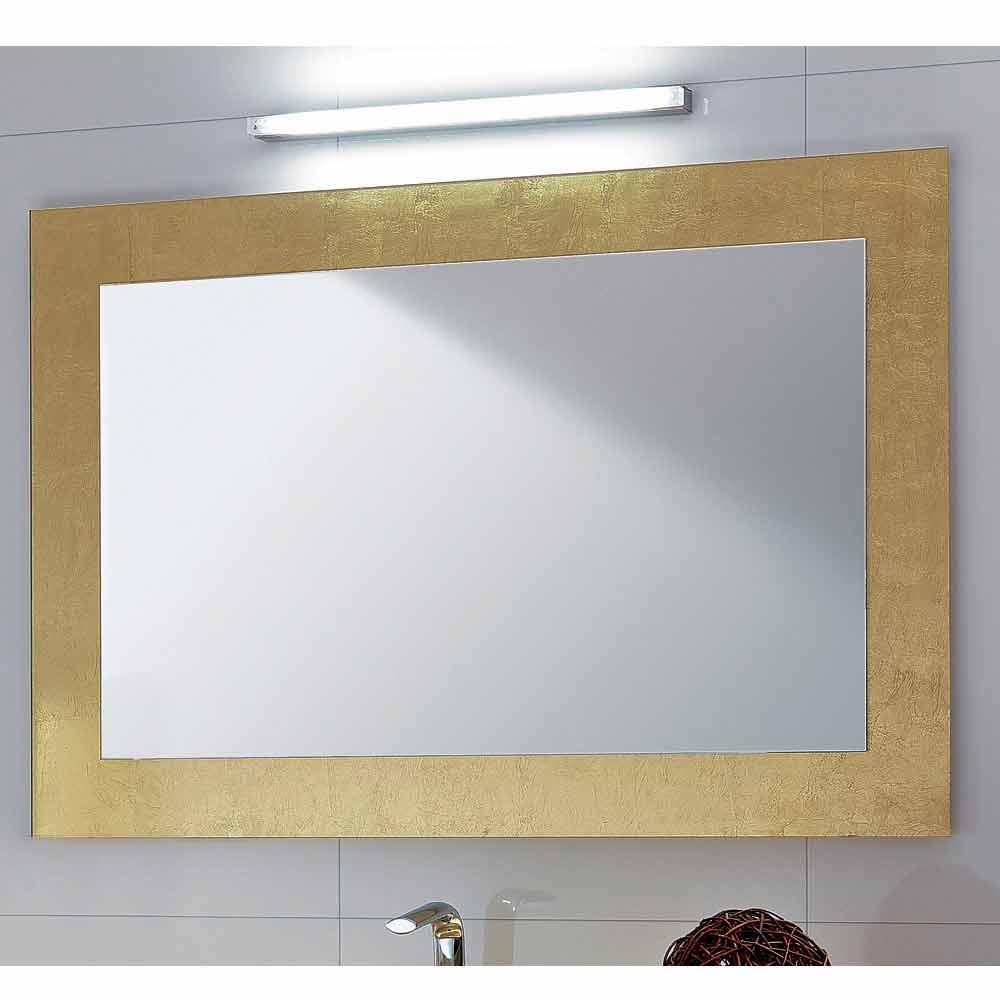 Specchio da bagno cornice in vetro decorato foglia oro pascal - Specchio con cornice dorata ...