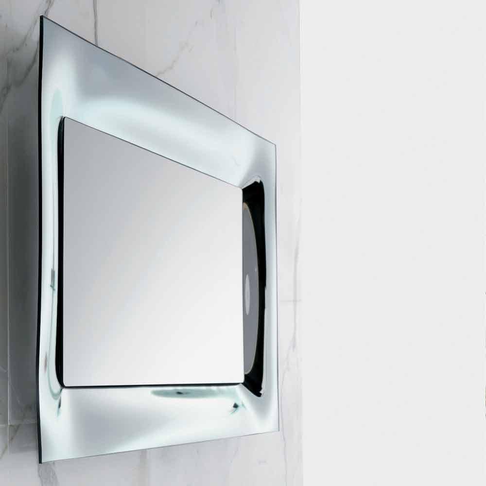 Specchio da bagno cornice vetro fuso argentato design - Specchio bagno cornice ...