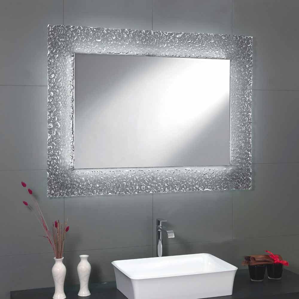 Specchio da bagno moderno con decoro cornice in vetro e luci led tara - Specchio per bagno moderno ...