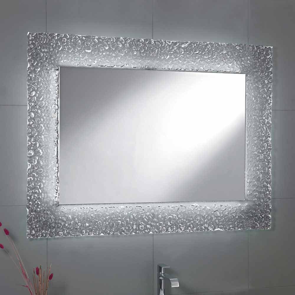 Specchio da bagno moderno con decoro cornice in vetro e for Home design e decoro