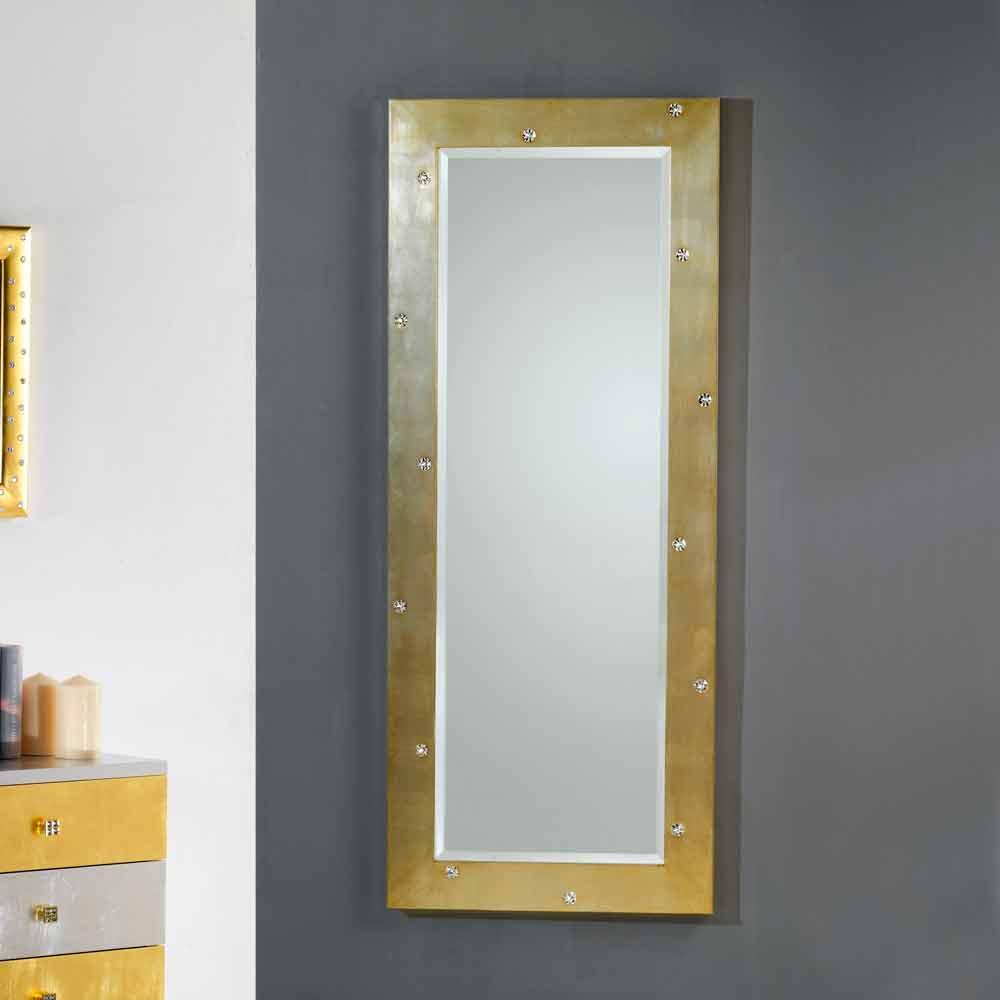 Specchio da muro terra design moderno con cristalli for Specchio da parete argento