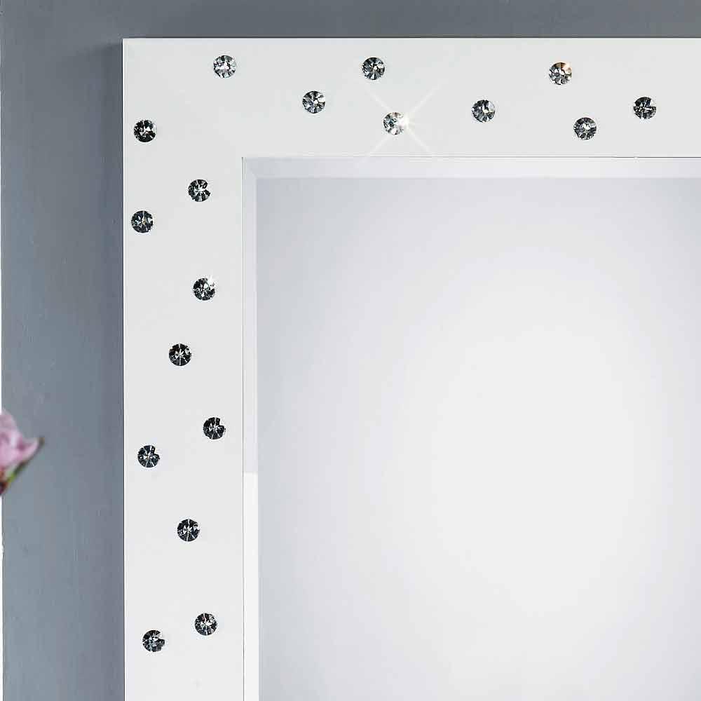 Specchio da parete bianco con decori in cristalli Swarovski Tiffany