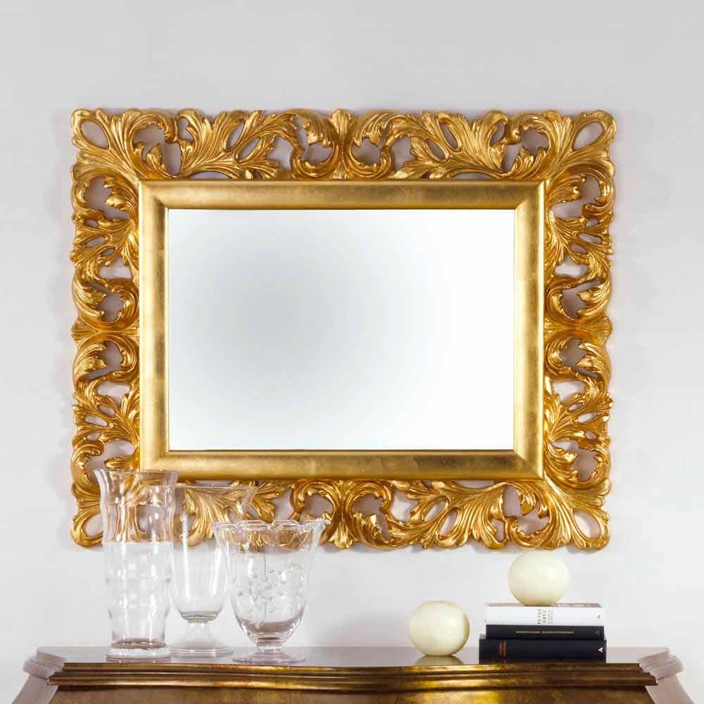 Specchio da parete di design finitura foglia oro gudin 108x87 cm - Specchio design da parete ...
