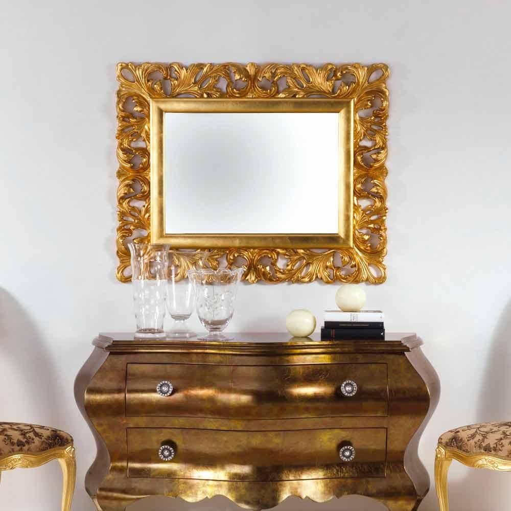 Specchio da parete di design finitura foglia oro Gudin, 108x87 cm