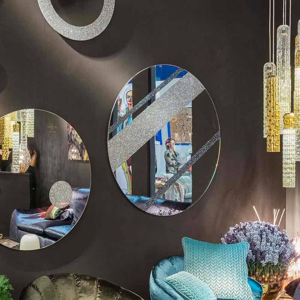 Specchio da parete rotondo di design moderno 100 made in italy athos - Specchio design da parete ...