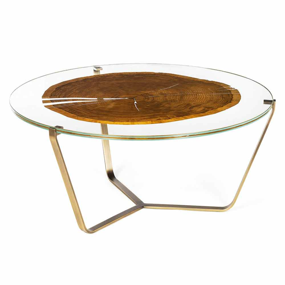 Tavolino da caff alto moderno con piano in vetro e legno bigo 1 - Tavoli da fumo in legno ...