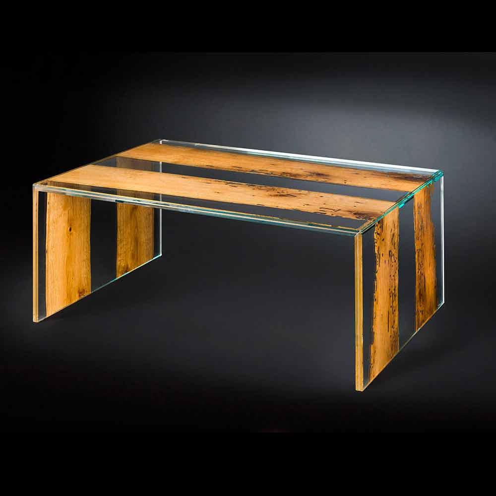 Tavolino da caff in legno di briccola veneziana e vetro for Tavolini in legno e vetro