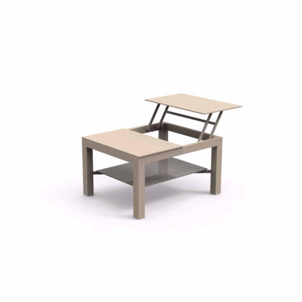 Tavolino da giardino apribile moderno con piano in vetro for Piani moderni in vetro