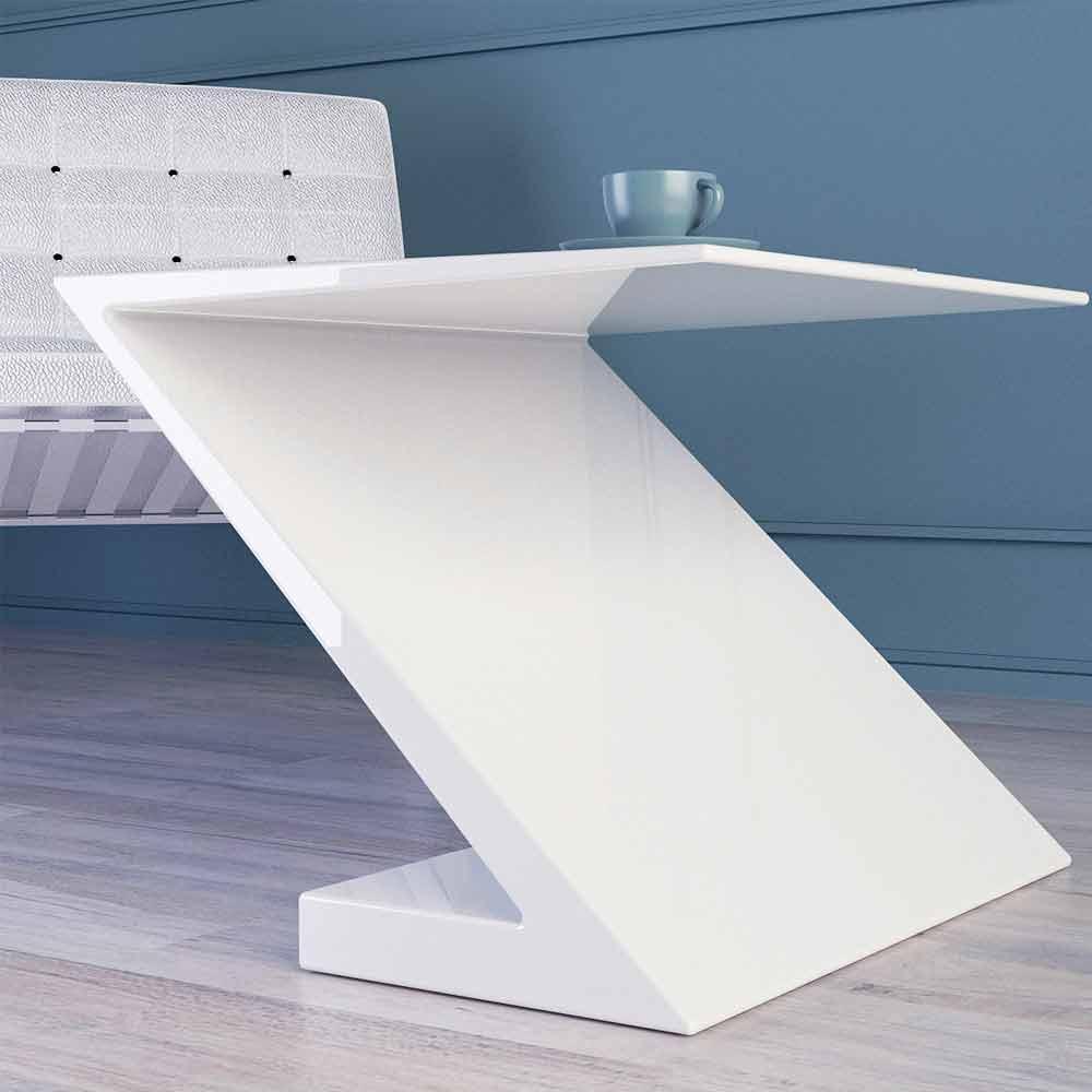 Tavolino da salotto bianco design moderno zeta made in italy for Salotto bianco