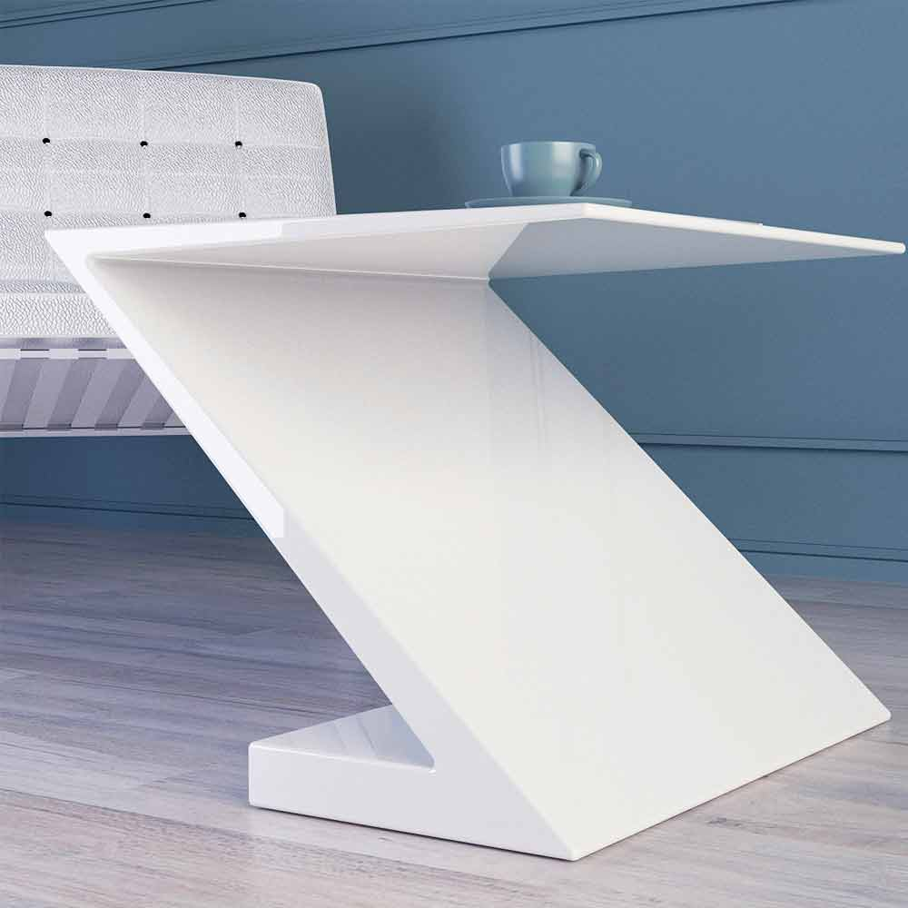Tavolino da salotto bianco design moderno zeta made in italy for Salotto design moderno