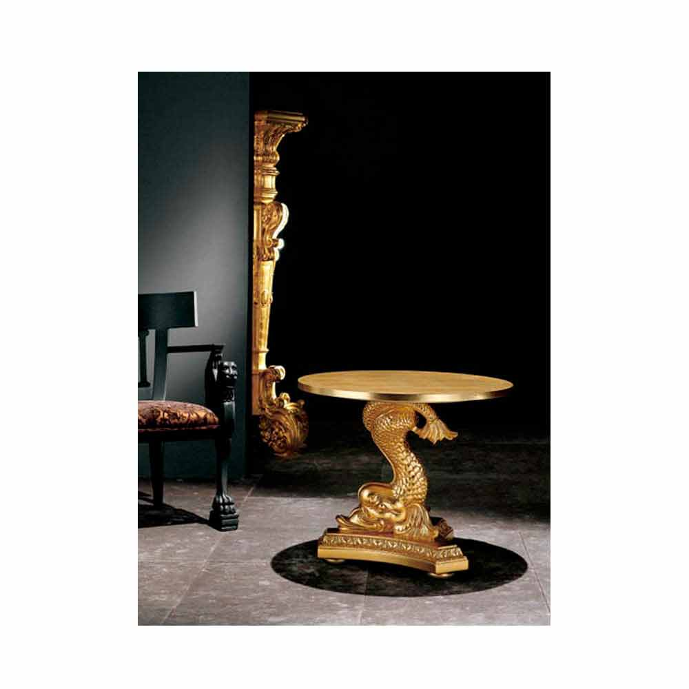 Tavolino da salotto classico in legno massello intagliato a mano, Ciro