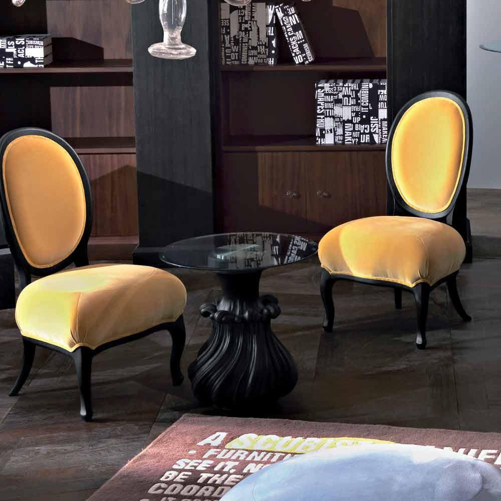 Tavolino da salotto in legno massello e cristallo diametro 60cm, Margo