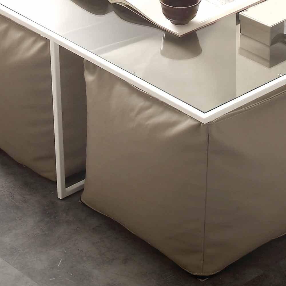 Tavolino 4 Pouf.Tavolino Da Salotto In Vetro Con 4 Pouf In Ecopelle Lula
