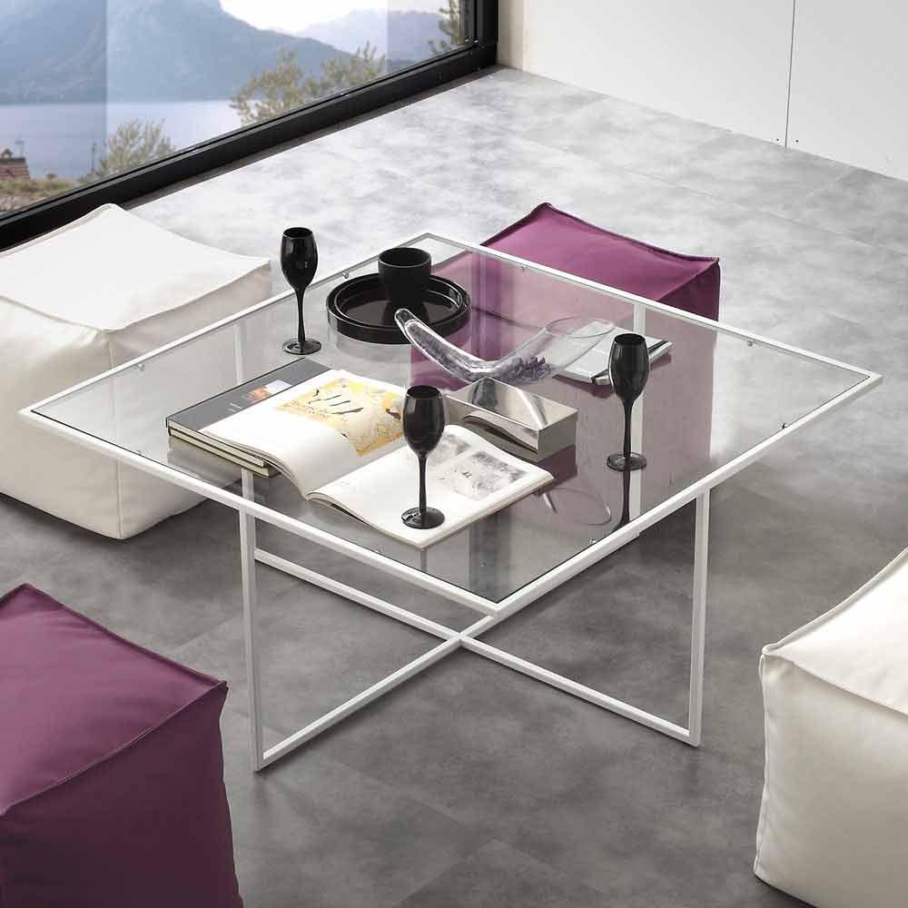 Tavolino da salotto in vetro con 4 pouf in ecopelle Lula