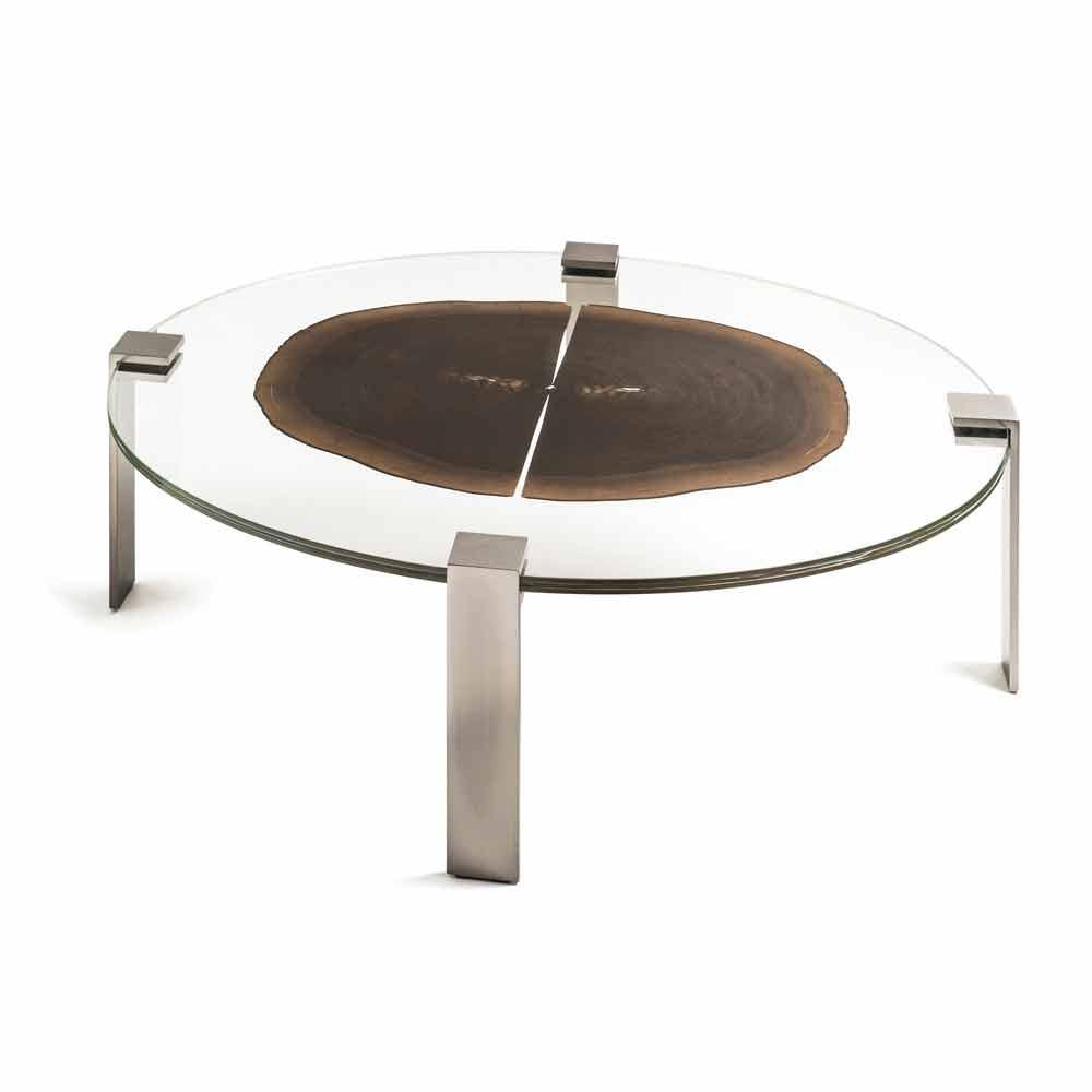 Tavolino da salotto ovale basso con piano in vetro e legno Buck 1