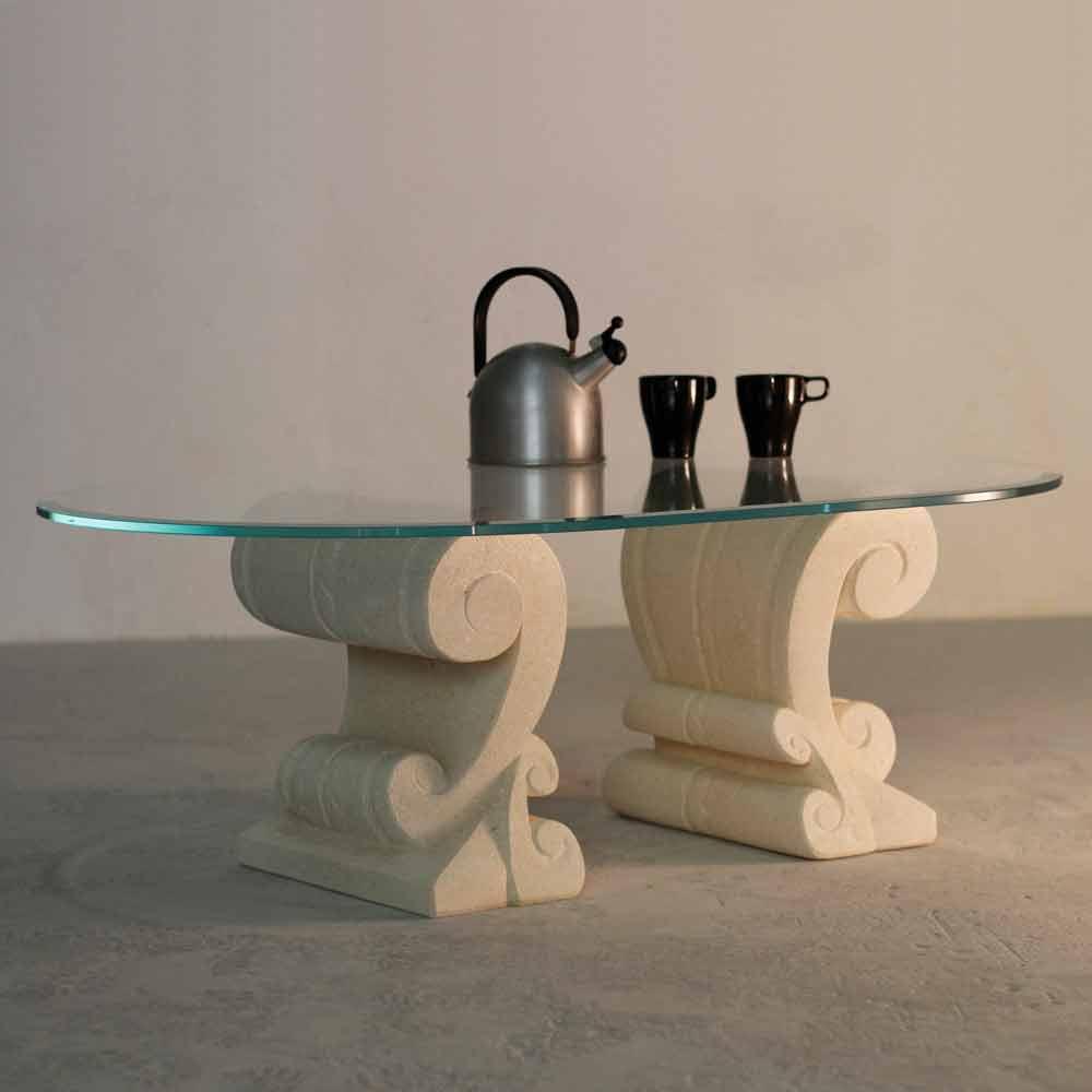 Tavolino ovale scolpito a mano Pietra di Vicena e cristallo Aracne-S