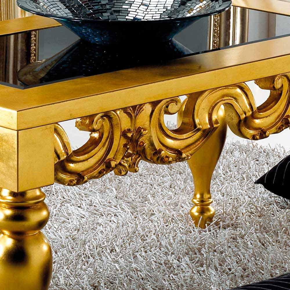 Tavolino da soggiorno design classico in legno Lof, finitura oro