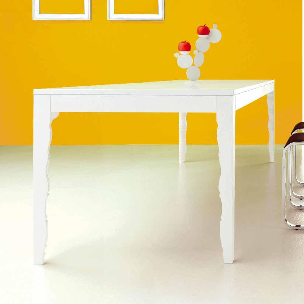 Tavolo Allungabile In Legno Bianco Di Design Moderno 10 Posti