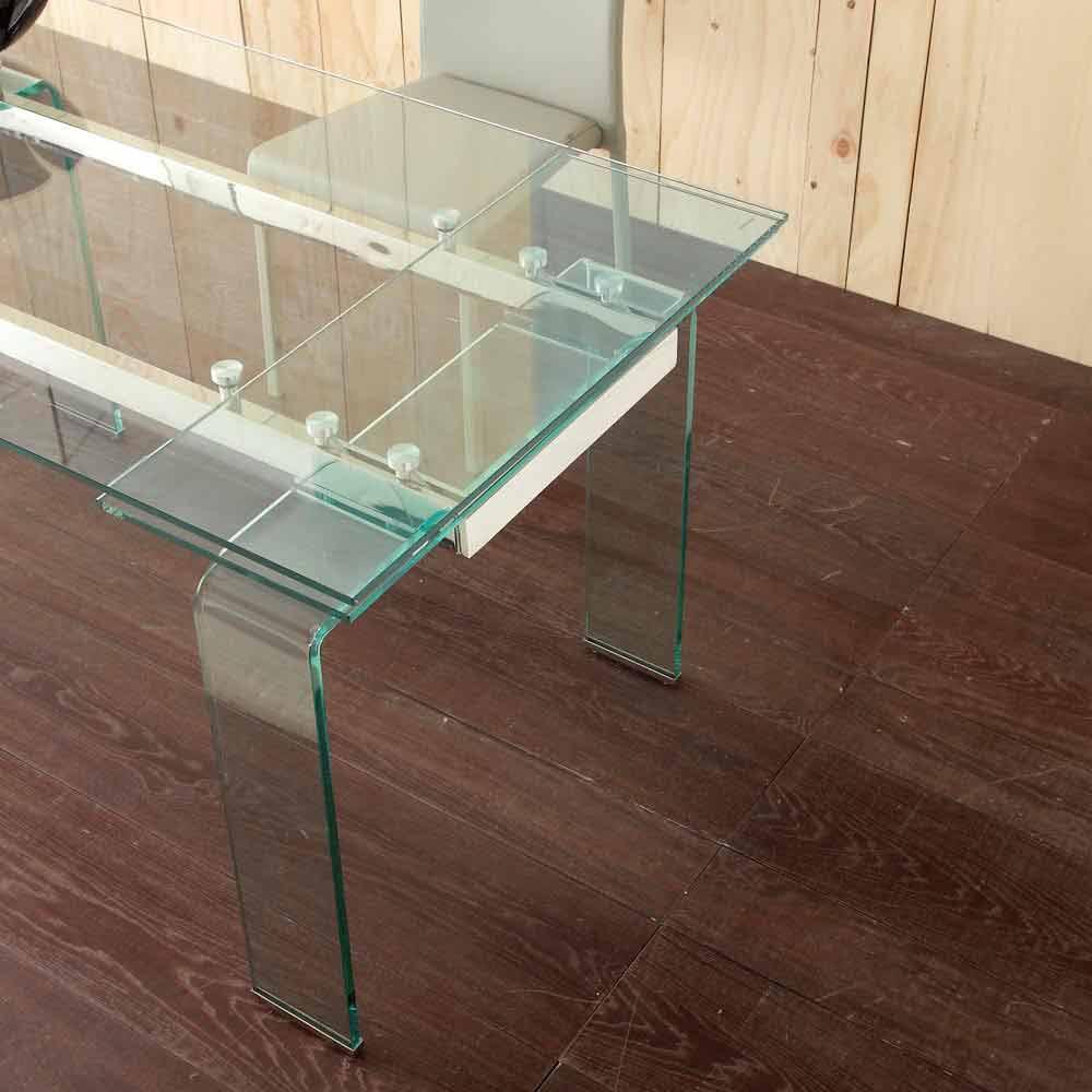 Tavolo allungabile con piano in vetro temperato lord - Tavolo trasparente allungabile ...