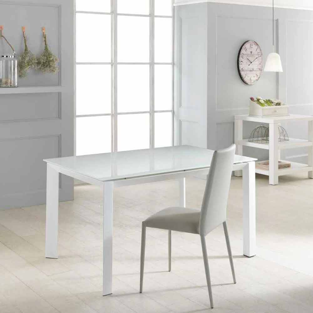 tavolo allungabile con piano in vetro temperato vinicio