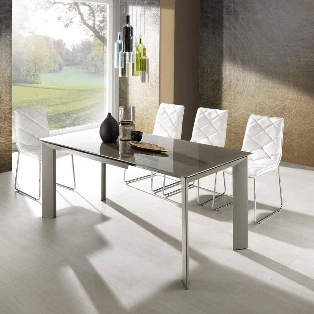 tavolo allungabile con piano vetro temperato verniciato