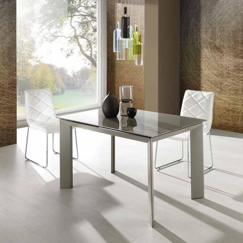 Tavolo allungabile con piano vetro temperato verniciato - Piano tavolo vetro ...