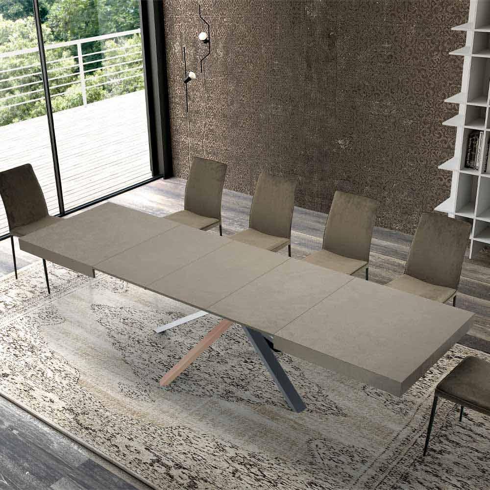 Tavolo Da Pranzo Allungabile Design Moderno In Legno E Acciaio