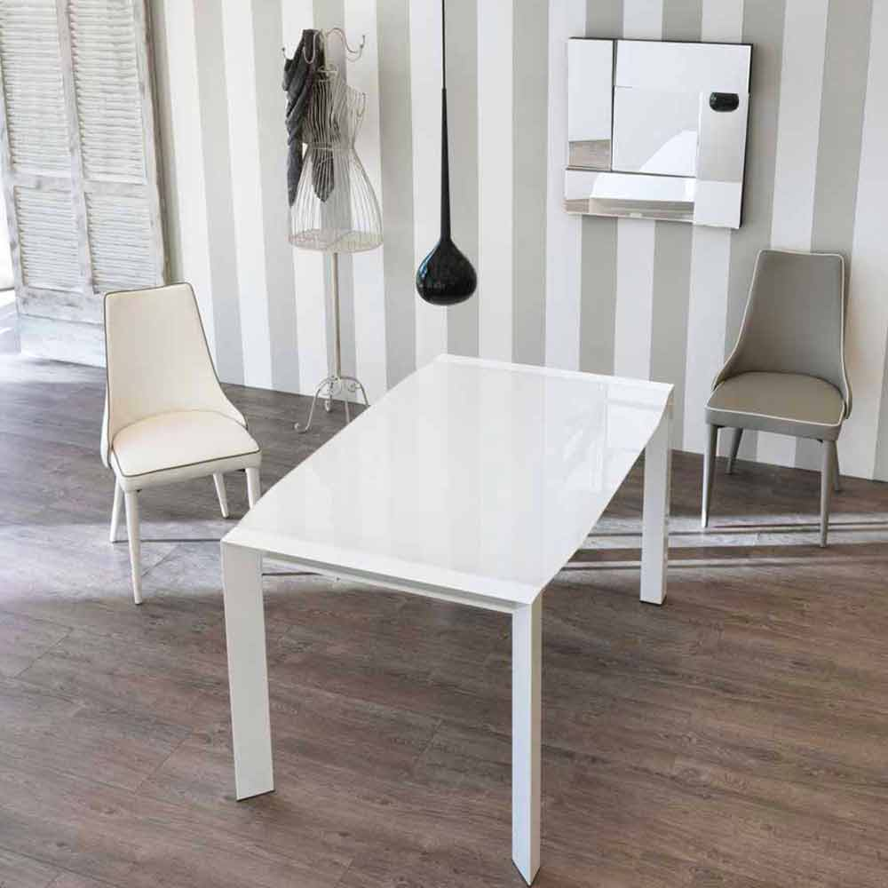 Tavolo allungabile design moderno con top in vetro zeno for Tavolo allungabile moderno